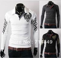 Cheap Free shipping 2014 autumn winter men's long sleeve Hoodies cool t shirt fashion polo shirt ,black, M-XXL
