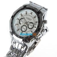 Men's Water Resistant Round CURREN CN8084 Luxury Fashion Stainless Steel Quartz Men Wrist Watch Analog Round Wristwatch with Adjustable Metal Band