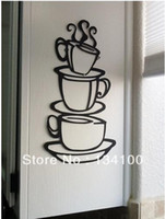 Cheap Coffee House Cup Art Metal Mug Waterproof and easily Removable Wall decals for Home Decor Art Mural Wall Room Decal