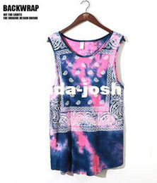 Wholesale-Hip-hop Allover Paisley Bandana Print Graphic tank top T Shirt Tyga Hip Hop kanye tee Free shipping
