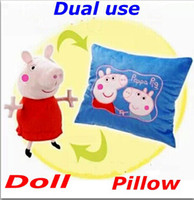 Unisex 5-7 Years Anime & Comics Cheap Wholesale New Peppa Pig Plush Toy Pillow Dual Use Stuffed Animals Toys Baby Toddler Best Gifts Free Shipping