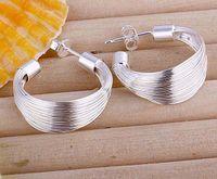Wholesale 12 Pairs silver wide C hoop loop women stud earrings