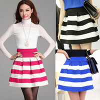 Wholesale 2016 Colored Women Ball Gown Short Skirt Stripe Patchwork High Waist Cute Elastic Skirt G0435