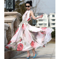 Wholesale 2014 New Women Summer Lady Flower Pattern Sleeveless Chiffon Maxi Dress Flouncing Sundress Long Dresses G0561