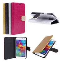 For Samsung crystals for sale - Hot Sale Shining Crystal Flip Leather Stand Cover Case for Samsung Galaxy S5 i9600 with Card Holder Magnetic Wallet PA1710
