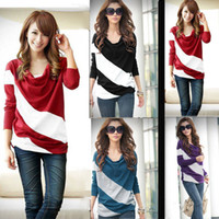 Wholesale 2014 Casual Women s T shirt Strip Stitching Long Sleeve Loose Pullover Knitwear For Lady Tops G0436