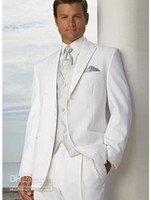 Wool Blend Reference Images Two-Button High-grade Two buttons White Groom Tuxedos Peak Lapel Wedding Bridegroom Groomsman Best man Suit WF08