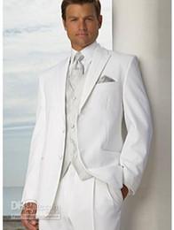 Wholesale High grade Two buttons White Groom Tuxedos Peak Lapel Wedding Bridegroom Groomsman Best man Suit WF08
