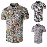 Men Cotton blended Polo New Man Spring 2014 Flower Print Shirt Men Casual Short Sleeve Mixed Colors Slim Fit Short Sleeved Shirts Free Shipping Plus Size:M--4XL 803