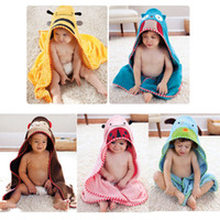 Robes Unisex Cotton Free Shipping Baby hooded bathrobe lovely catoon animal kids bath towel bath terry infant bathing robe LZ-O0031