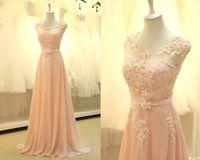Lace long summer dresses women - 2014 High Quality Summer Pink Lace Pearls Chiffon Prom Bridesmaid Dresses Long Vestido Women B2245