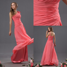 Wholesale Hot Sale Watermelon One shoulder Long Party Dresses Ruffle Pleats A line Floor length Chiffon Prom Homecoming Gows