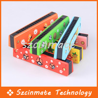 Wholesale Wooden Harmonica Kids Musical Instrument Educational Craft Toy