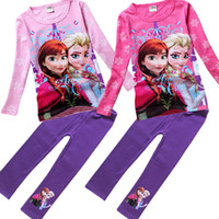 Girl Spring / Autumn Long Clothing sets Children Frozen Outfits Baby Girls Spring Autumn Suits Long Sleeve T-shirts Leggings Kids Pants 100% Cotton Clothing Wholesale