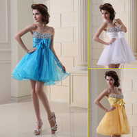 Reference Images Organza Sweetheart Cheap For Sale 2014 Under 50 Ready to wear Yellow Lilac Organza Short Homecoming Dresses Shiny Prom Dress A-Line Sweetheart Party Dress
