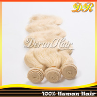 100g Brazilian Hair Blonde 6A Malaysian Peruvian Indian Brazilian Virgin Extension Body wave hair 3 pcs lot Color #613 Virgin Remy Hair Lingth blonde color hair