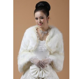 Wholesale Winter Wedding Shawl Warm Faux Fur Bridal Wraps Jackets Lace Edge Ivory Red Color Mix B8