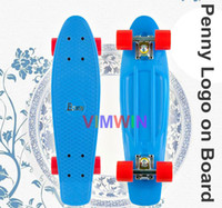 Wholesale inch Original Penny Logo on board Cruiser Skateboard Penny Board BLue Decks with Red Wheels