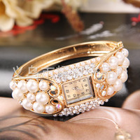 western rhinestone jewelry - Western Fashion Diamond Pearl Alloy Bracelet Watch Lady Rhinestone Jewelry