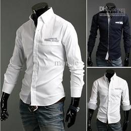 Wholesale new fashion men s Shirts Korean Slim Long Sleeve Lattice decor Casual men s Shirts white