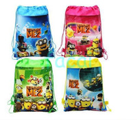 Wholesale of Cartoon Despicable me Tim the Minion shoe bag shoe pouch gift bag drawstring bag school bag shoulder bag