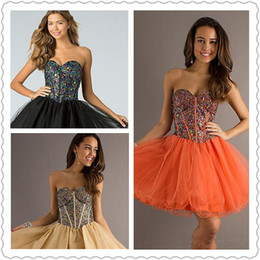 Wholesale 2014 New Short Strapless Lace Up Babydoll Dress Homecoming Dresses Multi Colored Rhinestones Backless Kenn Length Prom Celebrity Gowns