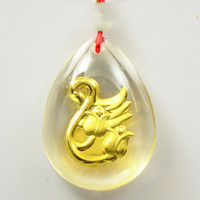 Crystal 24K gold inside pendant charms Swan duck fashion exp...