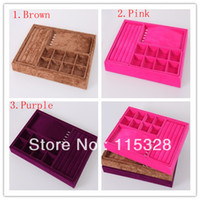 Other wood display - cm pc Quality Solid Wood Velvet Jewelry Ring Earring Display Organizer Tray Glass Case Box