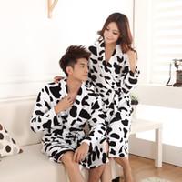 Wholesale Flannel pajamas winter pajamas for men and women couple cute cow pattern cardigan tracksuit suit
