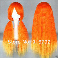 Curly Synthetic Hair Wig,Half Wig FREE SHIPPING >>Cosplay Lolita Long Curly Orange & Yellow Heat Resistant mix Party Hair Wig
