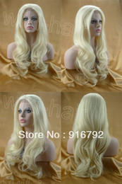 Wholesale quot quot HAND TIED Synthetic Hair lace front wig wavy