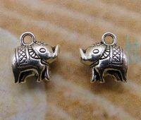 Pendant Necklaces Unisex Fashion Free Shipping Fashion Vintage Hot 50pcs Charms Antique Silver Alloy 3D Baby Elephant Pendant Decor DIY Jewelry 11*11mm S3079