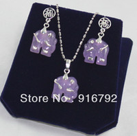 Necklace Settings Jewelry Sets Fine free shipping ******Set Pretty Purple jade silver elephant pendant necklace earrings