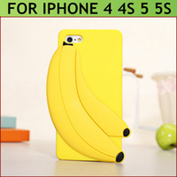 For Apple iPhone Silicone Blue Hot Selling Wholesale -2014 summer fruit banana case for Iphone 4 4S 5 5S silicone case form cute rubber shell -Free Shipping