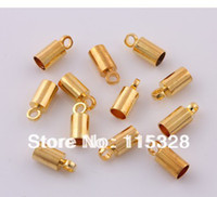 Charms Jewelry Findings Yes Free Shipping 200 pcs Gold Plated Barrel Bead Leather Cord ends caps Jewelry findings 4x9mm