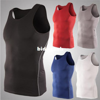Wholesale Mens Basketball Sports Tight Vest Running Training High Stretch Bottom Tank Tops For Men