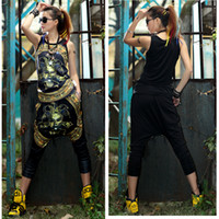 Wholesale DIEMAN FASHION Women Baggy Harem Pants Hippie Tank Tops Vest Clothing Sets D608