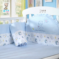 100% Cotton Hotal Adults New Cartoon brand items baby crib bedding cotton embroidery baby crib bedclothes set 5 members 100% cotton washable convenience