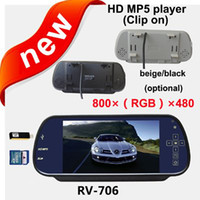 """Mirror & Covers car rearview mirror RV-706 Free Shipping!!HD 800*480pixesl 7"""" LCD Color Car Rear View Reverse Mirror Monitor mp5 player"""