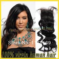 Black Lace Closure Human Hair High keratin 130-150% density natural black virgin human hair cheap silk base closure brazilian long deep wave lace top closures