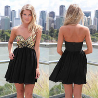 Reference Images Chiffon Sweetheart Cheap 2014 New Arrival A-Line Short Black Chiffon Backless Sexy Homecoming Dresses With Sweetheart Sequin Beads Sleeveless Cocktail Gowns