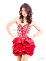 Reference Images Taffeta Sweetheart Whole sale!sweetheart tiered corset bodice sheer red sexy short prom party gowns shining dark blue graduation dresses lace-up taffeta