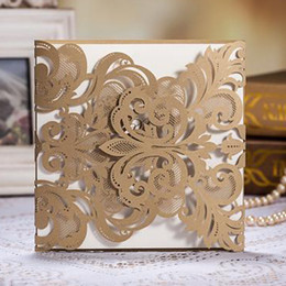 Wholesale Golden Chic Flower Heart Cut out Free Personalized Customized Printing Wedding Invitations Cards Custom