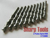 Yes SHARP-TOOLS ST6-LX0630 Durable 10pcs Lot 6*30MM 2 Flutes Spiral CNC Milling Tools, Engraving Router Bits, Carbide Wood Cutter, Carve Al, PVC, Free Ship