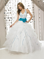 Wholesale Beaded Halter Top Quinceanera Dresses White Turquoise Lace up Back Fitted Bodice and Pleated Waistband with Bow Pick Ups Sweet Prom Gowns