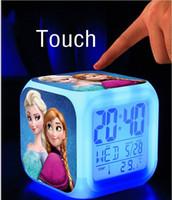 best light alarm clock - New Cartoon Movie Frozen Touch Alarm Clock Fashion LED Colorful Change Digital Clocks Night Light For Children Best Gift