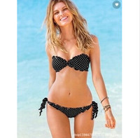 Wholesale swim wave was thin black and white point of living VS bikini swimwear