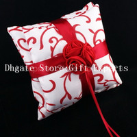 Wholesale White Ring Pillow Elegant Blooming Chinese Red Rose Flower Knot Bowknot Bearer Cushion for Wedding NEW