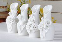 Wholesale New fashion Rose flower White Ceramics Vases Artifical Flower Vase Ostrich Feather Vase for wedding party home decoration