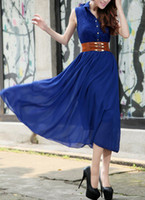 Wholesale Cute Women s Shirt Collar Lace Splicing Sleeveless Chiffon Dress Outlet Sale